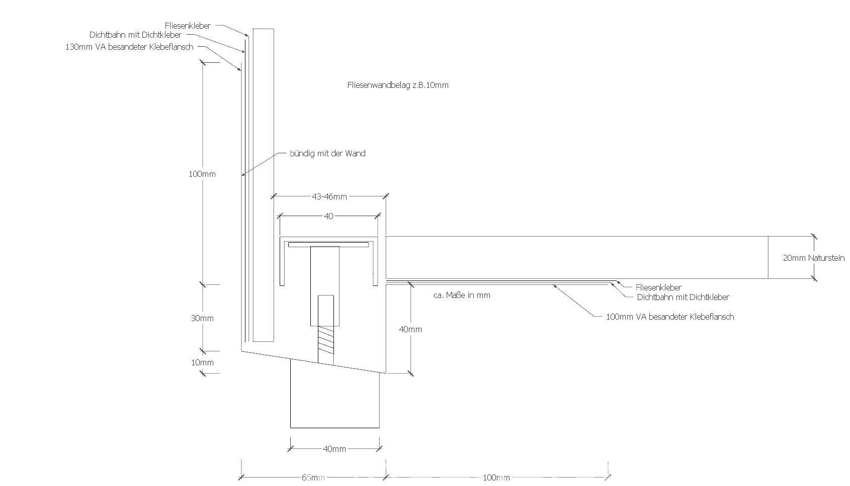 Duschrinne Pro technische zeichnung